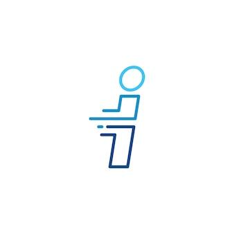 私は文字ダッシュ小文字ハイテクデジタル高速クイック配信移動ラインアウトラインモノラインブルーロゴベクトルアイコンイラスト