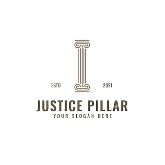 I letter logo justice and law firm pillar bold professional line art