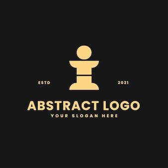 I letter luxurious gold geometric block concept logo vector icon illustration