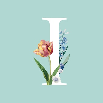 I letter with floral decoraction
