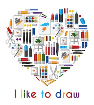 I like to draw. heart of pencils and paintbrushes. pencil and tool, love drawing, brush and pallette