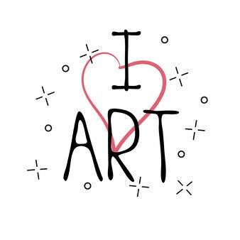 Я люблю искусство - рисованной иллюстрации с надписью от руки. элементы дизайна рисованной. можно использовать как поздравительную открытку для печати на футболках и сумках.