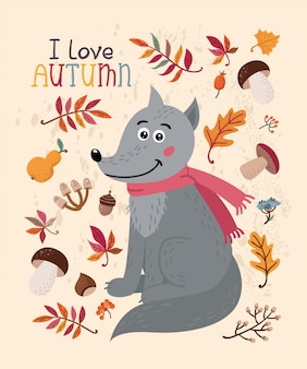 I love autumn card with wolf and leaves
