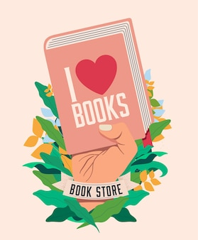 Я люблю книги концепция чтения книги с поднятой рукой, держащей книгу