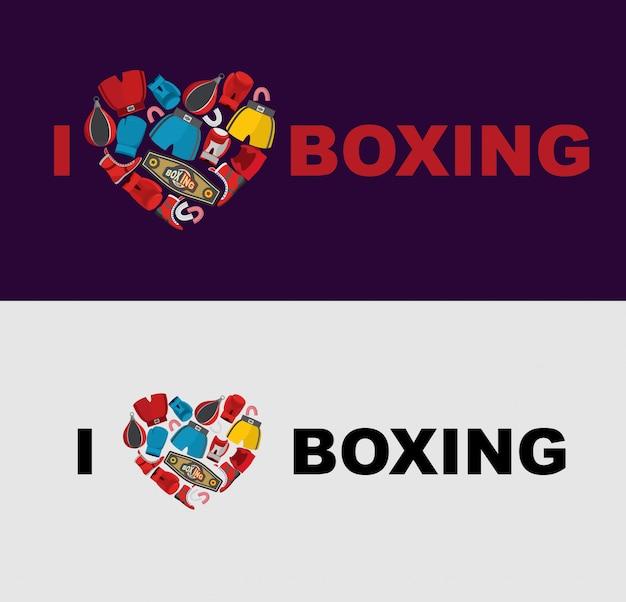 ボクシングが大好きです。ボクシングギアの中心のシンボル:ヘルメット、ショートパンツ、ボクシンググローブ。アスリートのtシャツに適用するためのテンプレート。