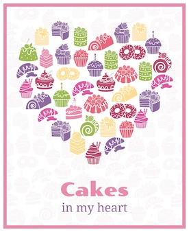 I love cakes. baking heart shaped sign. food cake, sweet poster. vector illustration