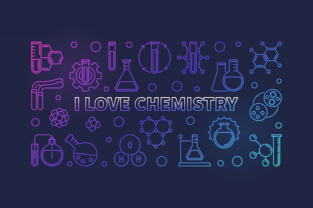 I love chemistry outline colorful horizontal banner