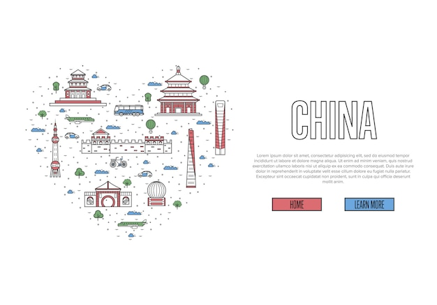I love china template in linear style