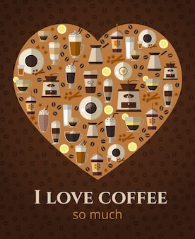 I love coffee sign in shape of heart. americano and cappuccino, espresso beverage, hot mug