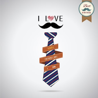 I love dad - father's day vintage retro style, illustrator vector design