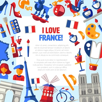 나는 랜드 마크와 유명한 프랑스 상징으로 프랑스를 사랑합니다