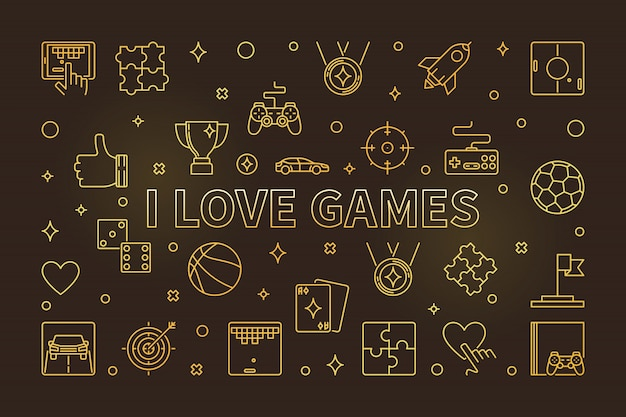 I love games  golden line icons