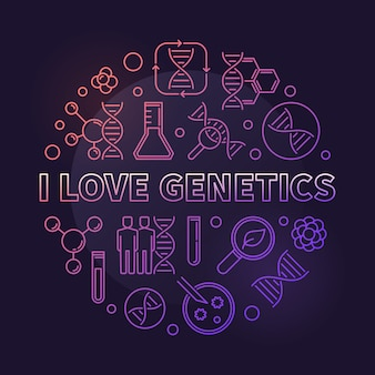 I love genetics vector colored concept thin line round illustration on dark background