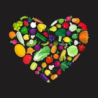 나는 건강 식품 개념을 좋아합니다. 맛있는 에코 농장 음식의 평면 스타일 심장 모양 형태. 세련 된 신선한 세트 과일 야채 베리 버섯 식물 개념. 농업 식품 수집.