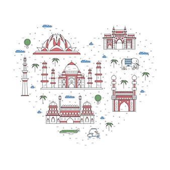 I love india poster in linear style