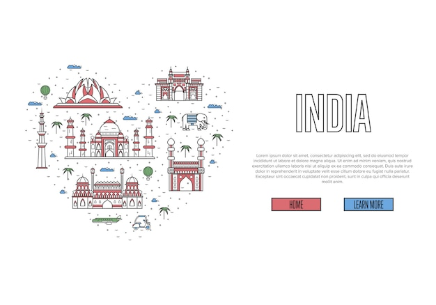 I love india webpage in linear style