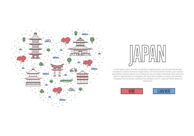 I love japan template in linear style
