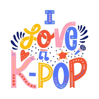 I love k-pop music lettering