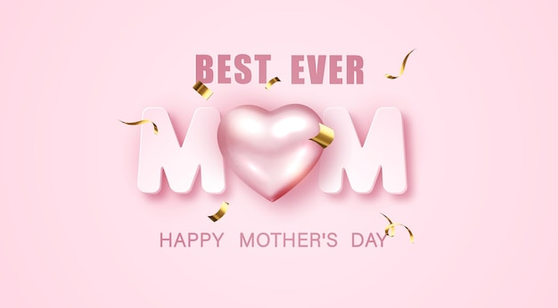 I love mom. mothers day greeting card with 3d metallic heart and tinsel on pink