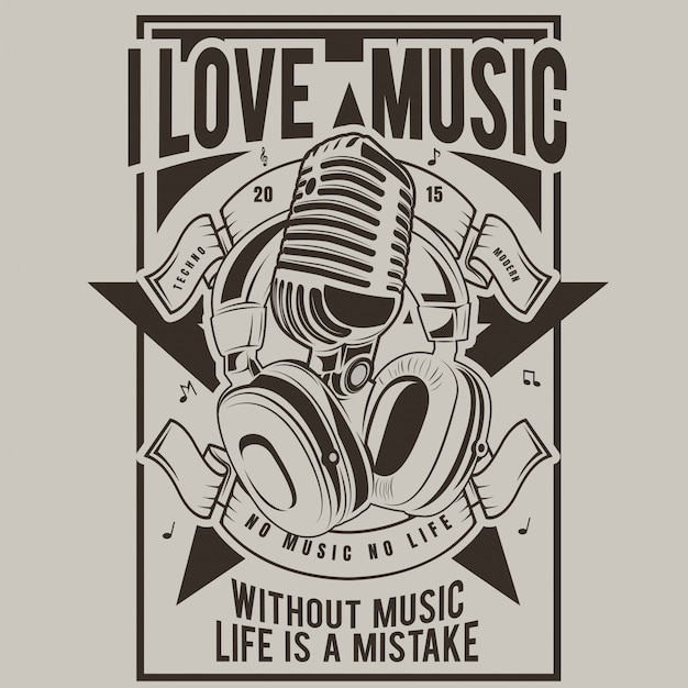 I love music, poster of microphone and headphones