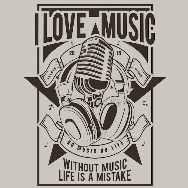 Я люблю музыку, плакат микрофона и наушников