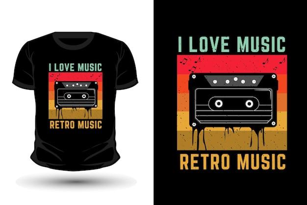 I love music retro music merchandise silhouette t-shirt design