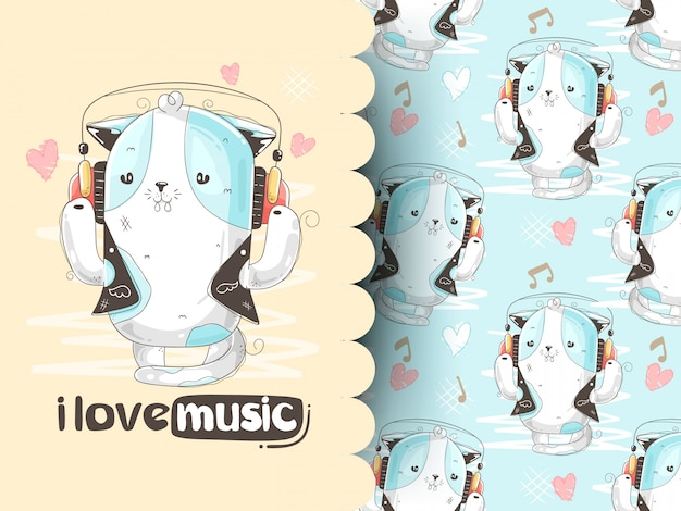 I love music slogan cute animal listening music from headphones. illustration and pattern