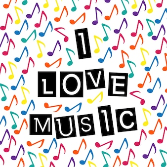 I love music typographic lettering over colorful music notes background