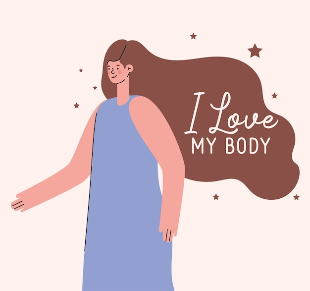 Я люблю свое тело с женским мультяшным дизайном, позаботьтесь о себе