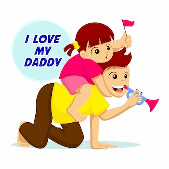 お父さん大好き。父と娘が一緒に遊ぶイラスト