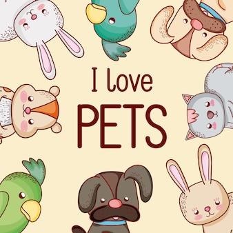 나는 애완 동물을 좋아한다 프리미엄 벡터