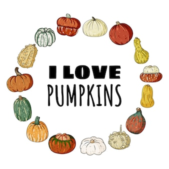 I love pumpkins decorative wreath banner with cute colorful pumpkins.