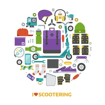 I love scootering circle print with urban lifestyle elements stylized in circle shape