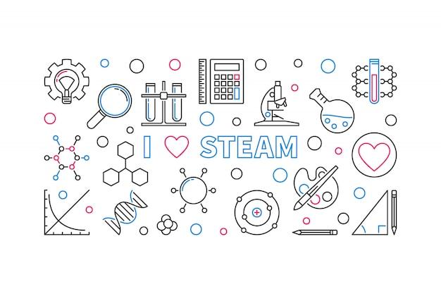I love steam vector outline horizontal banner or illustration