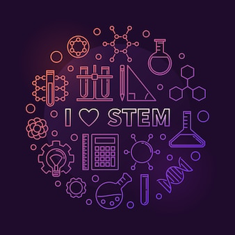 I love stem colored circular outline icon illustration
