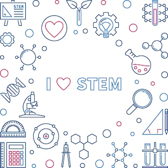 I love stem vector concept creative illustration