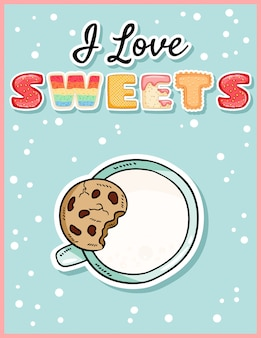 I love sweets cute funny postcard with cup of milk and cookie