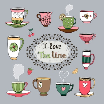 I love tea time central cartouche with a foliate frame surrounded by a variety of cups of tea