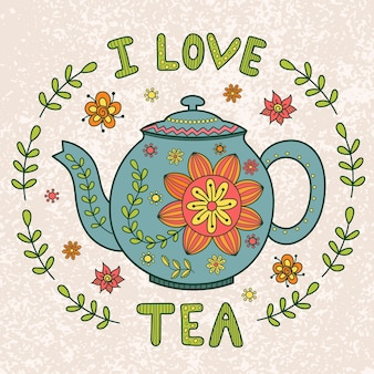 I love tea vintage illustration