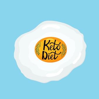 Я люблю кето-диету - надписи, нарисованные от руки. жареное яйцо с веточкой розмарина здоровый завтрак.