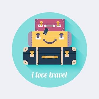 旅行が好きです。ヴィンテージ旅行荷物。フラットなデザインスタイルのモダンなコンセプト。