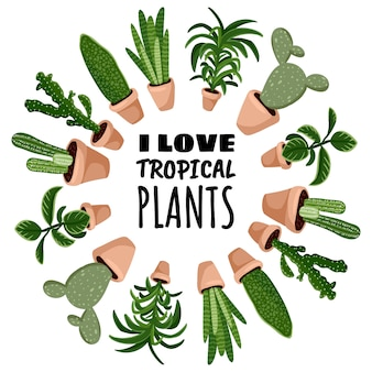 Я люблю тропические растения мультяшный стиль открытки, милый венок орнамент кадра