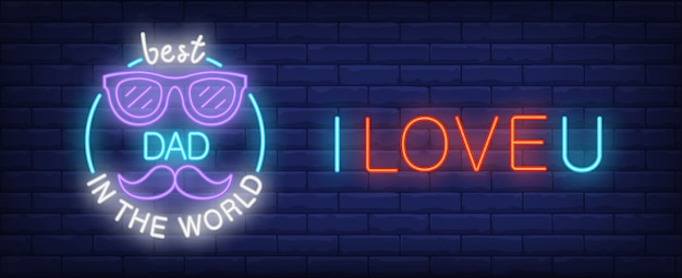 I love u, best dad in the world illustration in neon style. colorful text, glasses