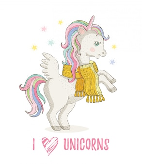 I love unicorns. cute unicorn pony, cartoon horse. magic animal in winter scarf. hand drawn fairy illustration isolated