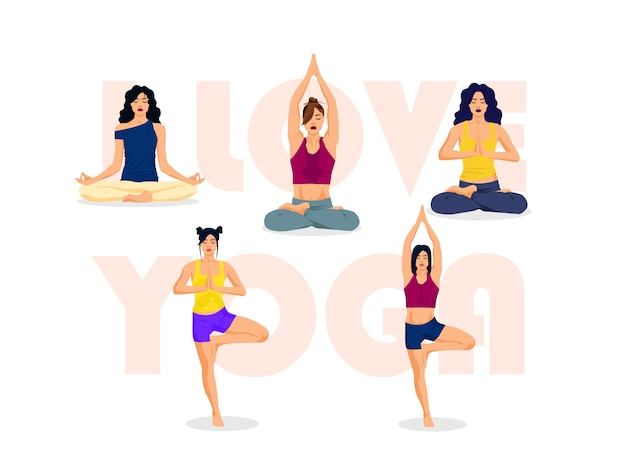 I love yoga, poses illustration