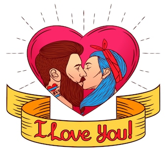 聖バレンタインのカードのカラフルなイラスト。男が女にキスをするイメージ。ピンク色のハートの背景にリボンの上に「i love you」というテキストが描かれた2人の若者