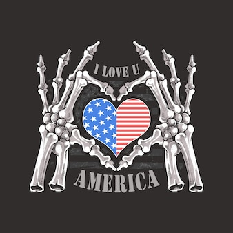 I love you america usa forever skeleton skull bones hand artwork