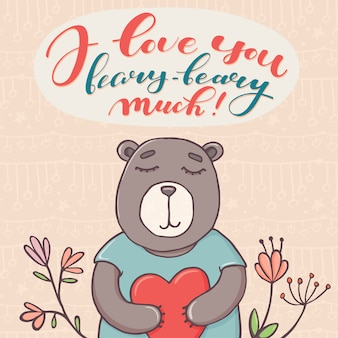 I love you beary much, valentine day greeting card