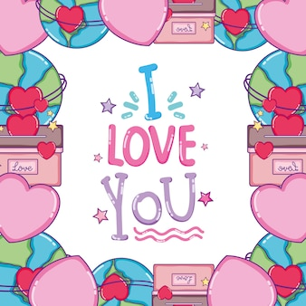 I love you card message cute cartoons design vector illustration graphic design