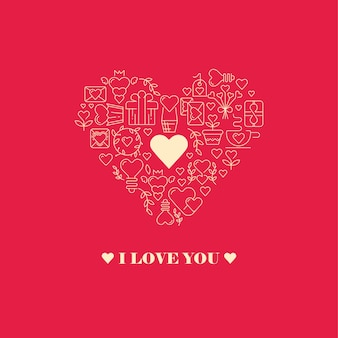 I love you card with heart shape of the big heart frame consisting of elements